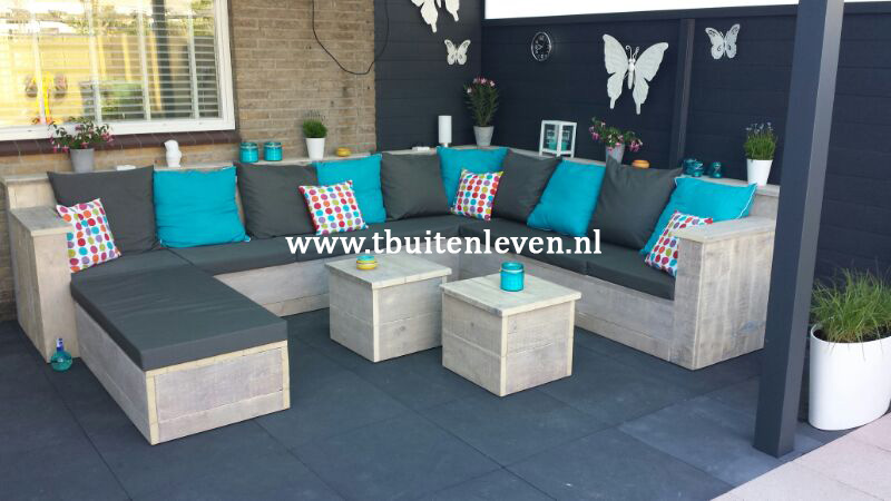 Loungehoekbank met white-wash