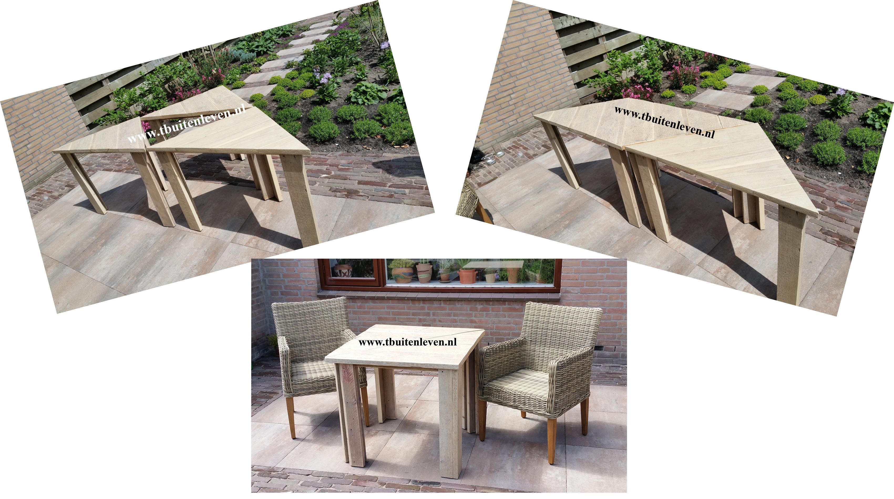 3 driehoekige tafels welke op verschillende manieren gebruikt kunnen worden